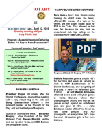 Moraga Rotary Newsletter - April 5, 2016