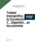 Informe de La Circulación y Digestion de Los Animales