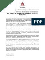 PLENO DEL JNE CONTINÚA RESOLVIENDO CON CELERIDAD APELACIONES PROVENIENTES DE JURADOS ELECTORALES ESPECIALES