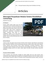 Mencapai Perpaduan Melalui Sistem Pendidikan Cemerlang _ 1Malaysia