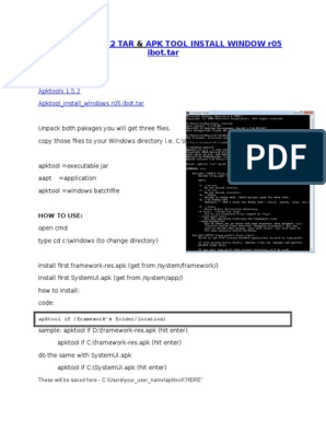 APKTOOLS 1 5 2 & Apk Tool Install Windows r05-Ibot