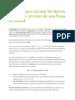 Fórmula Para Calcular El Avance en Un Fresador