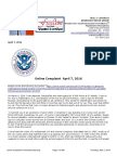 Online Complaint to Homeland Security and Exhibits of April 7, 2016 989 Pages - Please download for Bookmarks