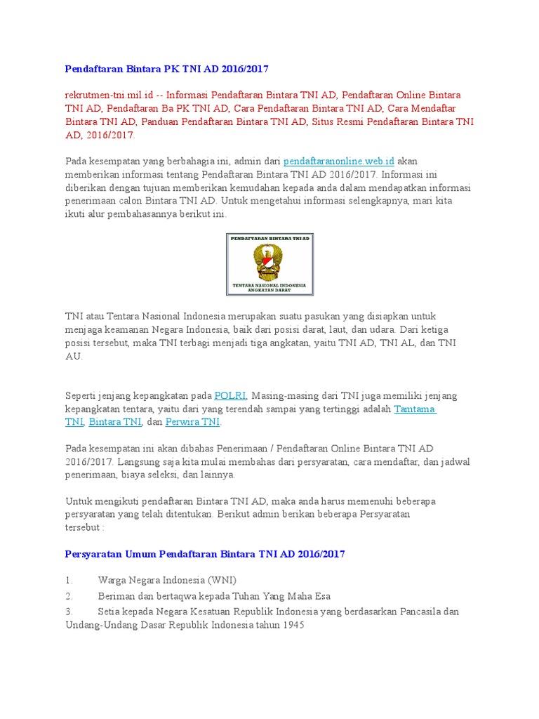Pendaftaran Bintara Pk Tni Ad 2016