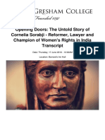 Opening Doors the Untold Story of Cornelia Sorabji Reformer Lawyer and Champion