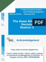 Asset Allocation Decision