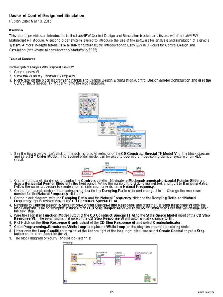 Ni Tutorial 10685 En Simulation Systems Theory Block Diagram Examples Control System