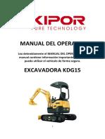 Instrucciones Mini Excavadora Kipor Kdg15
