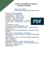Lista Lecturilor de Pregătire La Limba Și Literatura Română