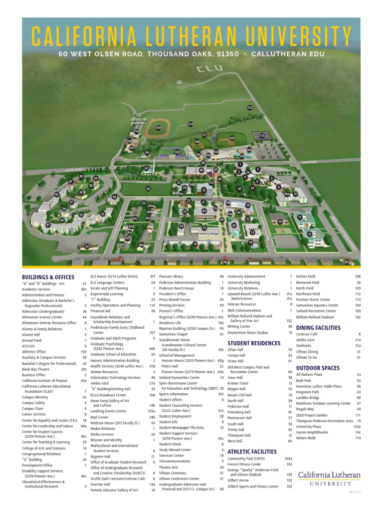 California Lutheran University Campus Map.Clu Campus Map Educational Stages Universities And Colleges