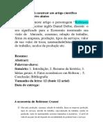 A Economia de Robson Crusoé