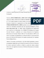 Carta de la MUD al CNE