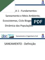 Aula 2 - Fundamentos Saneamento e Meio Ambiente, Ecossistemas, Ciclo Biogeoquímicos, Dinâmica Das Populações