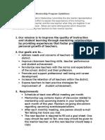 mentorship program guidelines - talking points for bldg mentor rep