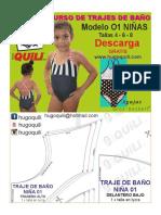 traje de baños para niña con patrones