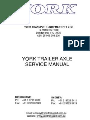 York Trailer Service Manual | Bearing (Mechanical) | Nut