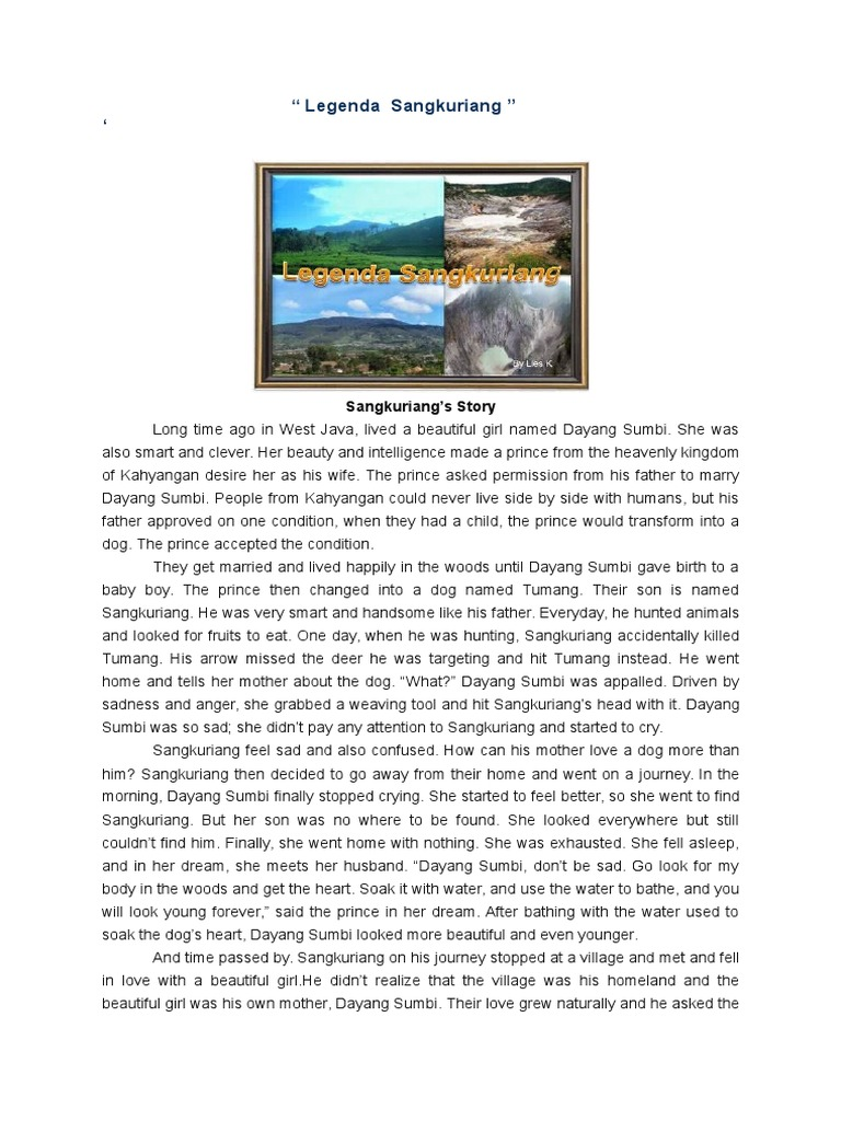 Cerita Sangkuriang Dalam Bahasa Inggris Dan Terjemahan