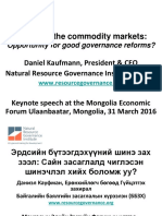 Mongolia Governance Keynote Speech by Daniel Kaufmann