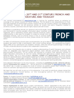 CFP - 20th and 21st Century French and Francophone Literature and Thought