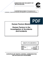 Safety Human Factors Module Human Factors in the Investigation of Accidents and Incidents 1998