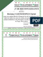 N Réf 015 2016 Certificat de Reconnaissance