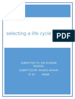 Assignmnet#1 Selecting a Life Cycle Model
