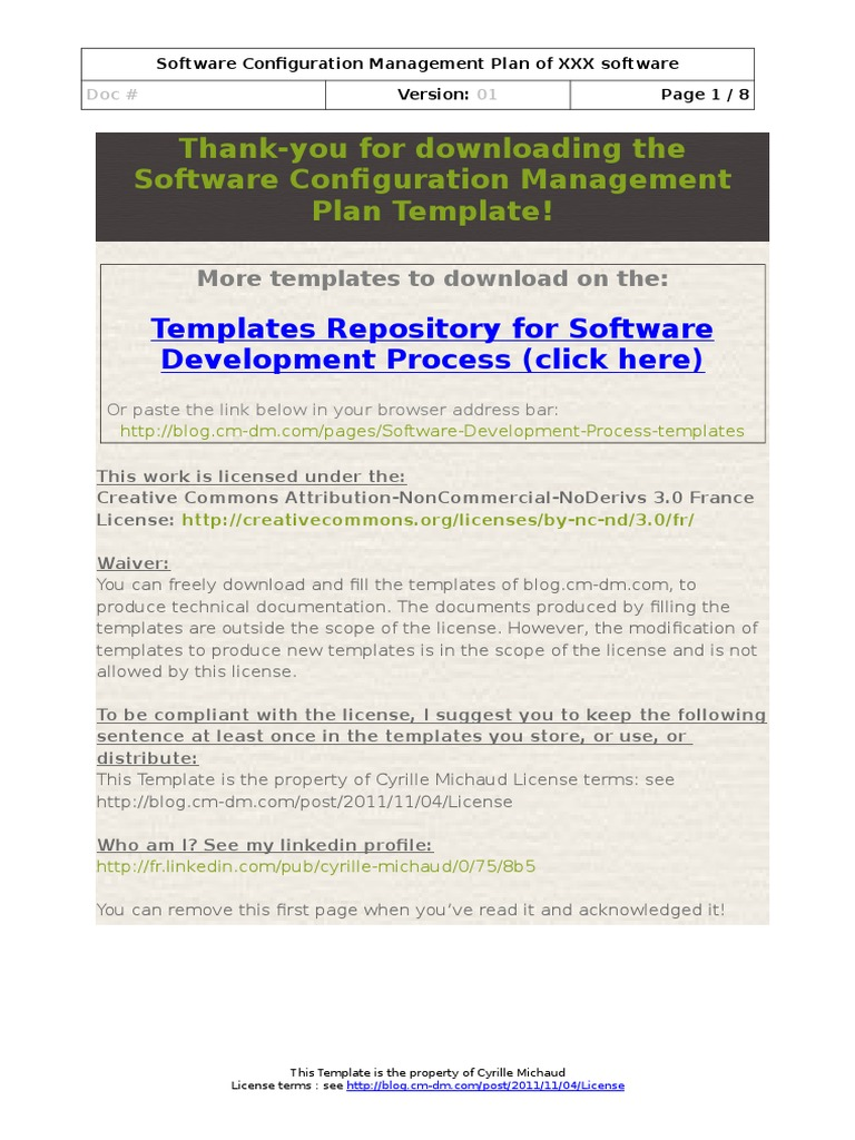 Lovely Software Configuration Management Plan Template | Version Control | Systems  Engineering