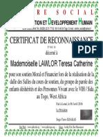 N Réf 016 2016 Certificat de Reconnaissance LAWLOR Catherine