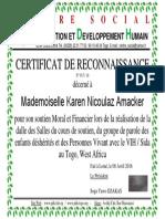 N Réf 017 2016 Certificat de Reconnaissance NICOULAZ Karen
