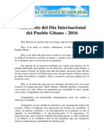 Manifiesto Dia Internacional Del Pueblo Gitano 2016 Por Manuel Rivas