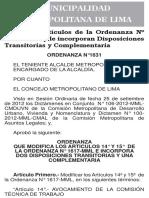 Ordenanza 1631-2012-Mml Modifica Art 14 y 15 de La Ord 1617 e Incorpora Dos Disp Transitorias y Una Complementaria