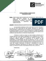 Circular 05-15 CGE Convocatoria de Concientización NI UNA MENOS