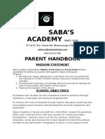 Saba's Academy Parent Handbook 2016