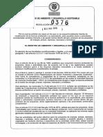 Resolucion 0376 de 2016 Minambiente