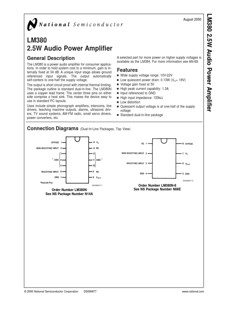 Lm380 Amplifier Electronic Engineering Audio Circuit Get Electronics