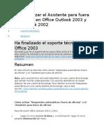 Cómo Utilizar El Asistente Para Fuera de Oficina en Office Outlook 2003