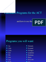 Calculator Programs for the ACT