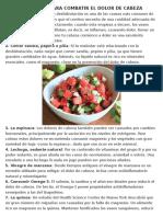 Alimentos Para Combatir El Dolor de Cabeza