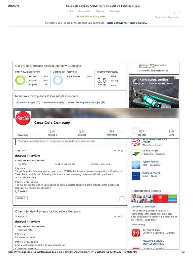 coca cola company analyst interview questions _ glassdoorco