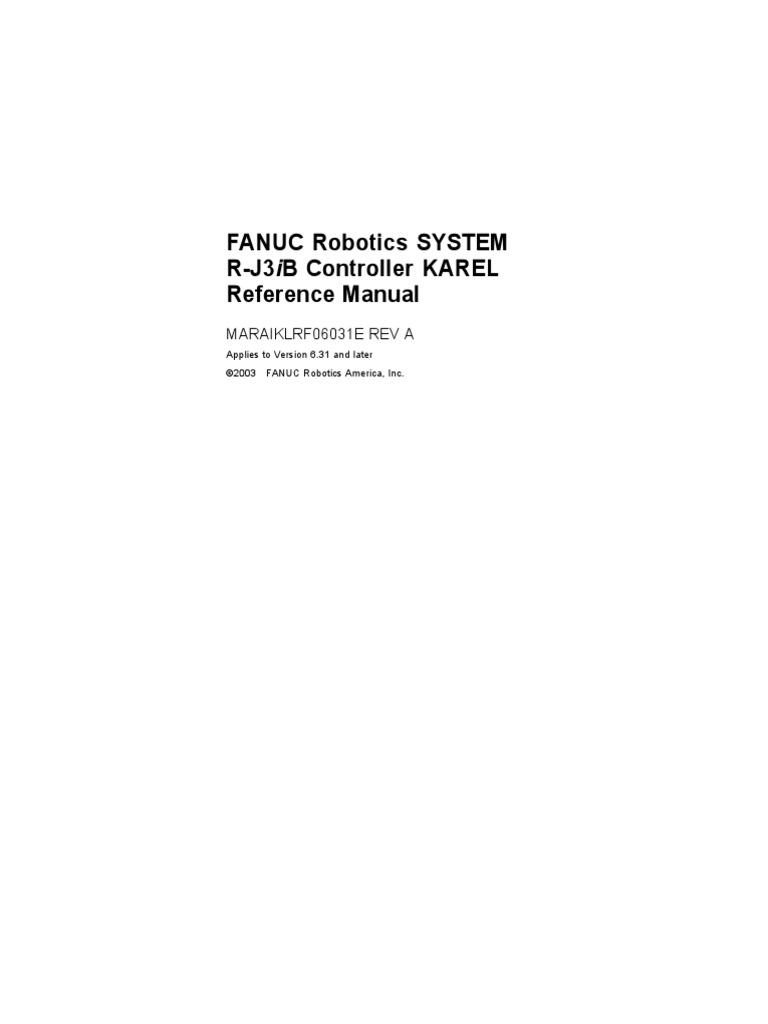 Karel Reference Manual Ver 6 31 [Maraiklrf06031e Rev a] | Control