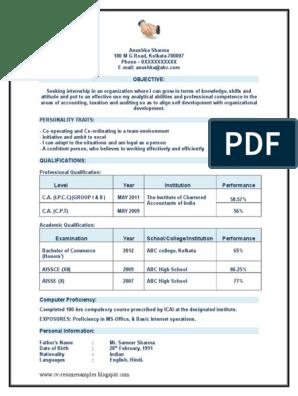 Sample resume for ca internship free business plan example format