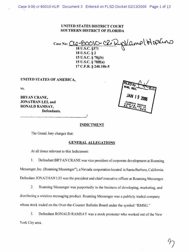 Indictment | Conspiracy (Criminal) | Fraud