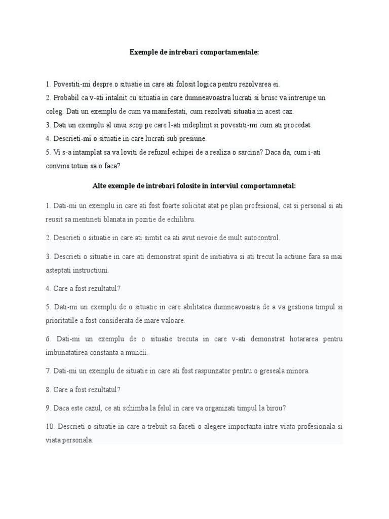 Exemple Intrebari Interviu Comportamental