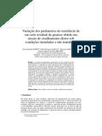 Variação dos parâmetros de resistência de um solo residual de gnaisse obtido em ensaio de cisalhamento direto sob condições inundadas e não inundadas