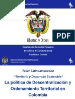 Política Descentralización y Ordena Terri en Colombia AMIGO de CLARA PINILLA