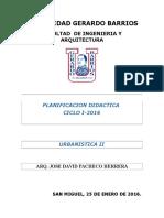 Planificacion Urbanistica II Ciclo I 2016