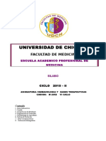 Silabo de Farmacologia y Bases Terapeuticas 2015 II
