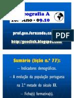 Apresentação - Evolução da População Portuguesa na 2.ª Metade do Séc. XX (10.º)
