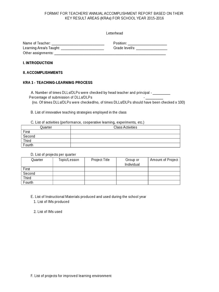 format for teachers accomplishment report mentorship