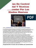 Teorías De Control Mental Y Técnicas Utilizadas Por Los Medios Masivos